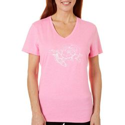 Reel Legends Womens Sketched Turtle & Rose T-Shirt