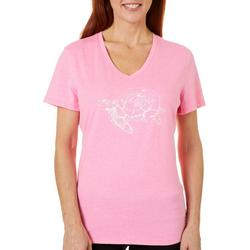 Womens Sketched Turtle & Rose T-Shirt