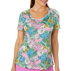 Reel Legends Womens Floral And Palms Burnout T-Shirt