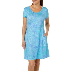 Womens Keep It Cool Coral Puzzle Dress