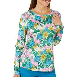 Reel Legends Womens Reel-Tec Floral And Palms Top
