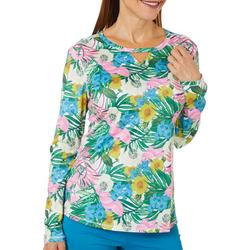 Womens Reel-Tec Floral And Palms Top