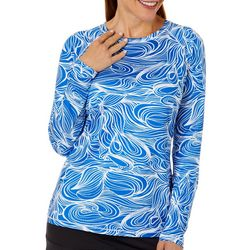 Reel Legends Womens Keep It Cool Graphic Wave Top