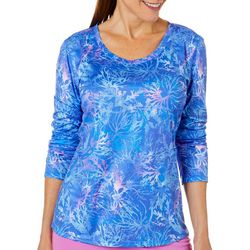 Reel Legends Womens Reel-Tec Coral Dots Long Sleeve Top