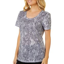 Reel Legends Womens Textured Palms Scoop Neck Burnout Top