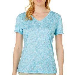 Reel Legends Womens Reel-Tec Graphic Print Short Sleeve Top