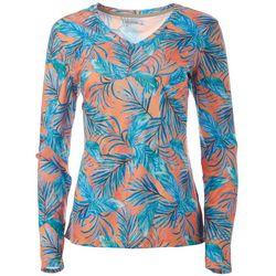 Reel Legends Womens Reel-Tec Vacation Palms Long Sleeve Top