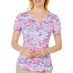 Reel Legends Womens Reel-Tec Abstract Wave Print Top