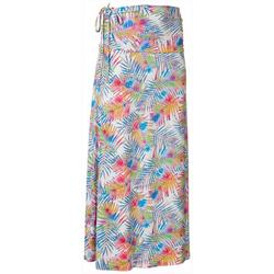 Womens Keep It Cool Colorful Palms Maxi Skirt
