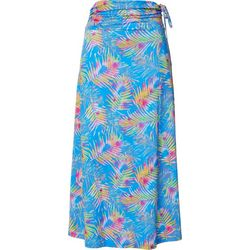 Reel Legends Womens Keep It Cool Palm Print Bliss Maxi Skirt