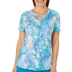 Reel Legends Womens Abelone Shell Keyhole Burnout T-Shirt