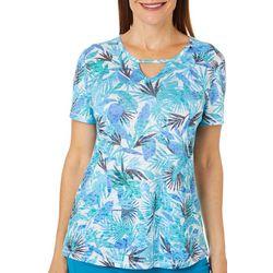 Reel Legends Womens Graphic Paradise Keyhole Burnout T-Shirt
