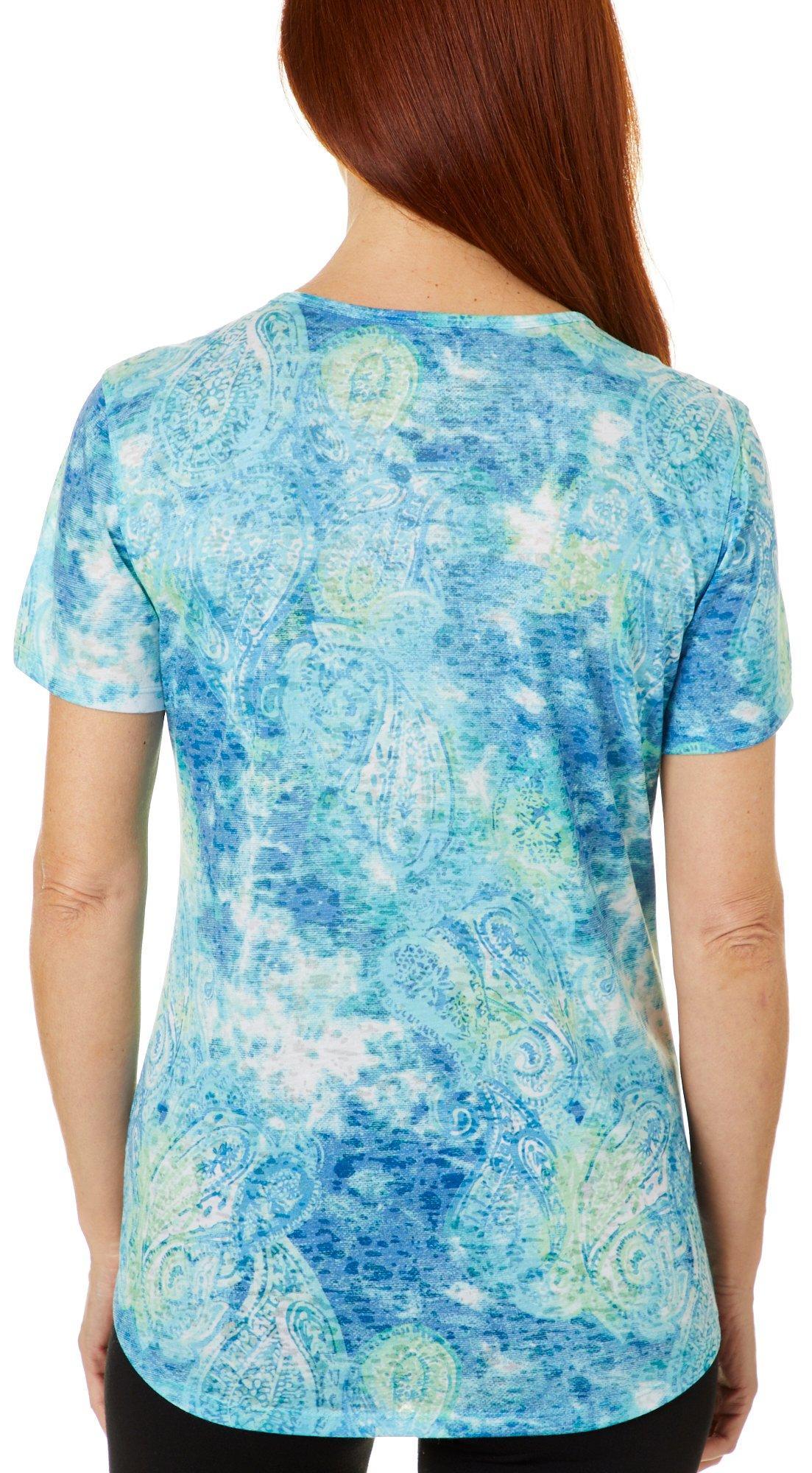Reel Legends Womens Textured Paisley Burnout Keyhole T-Shirt