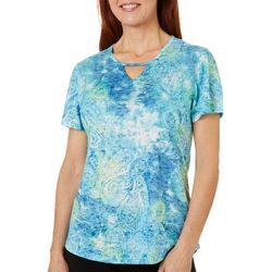 Reel Legends Womens Textured Paisley Burnout Keyhole T-Shirt