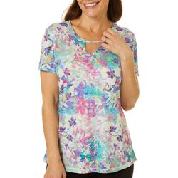 Reel Legends Womens Colorful Blossom Burnout Keyhole T-Shirt