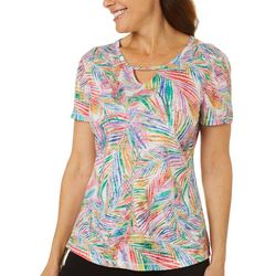 Reel Legends Womens Jazzy Palms Burnout Keyhole T-Shirt