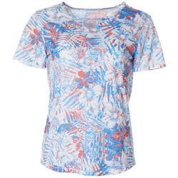 Womens Americana Palms Burnout Keyhole T-Shirt
