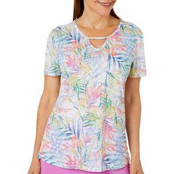 Reel Legends Womens Blazing Blooms Keyhole Burnout T-Shirt