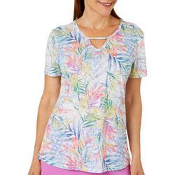 Womens Blazing Blooms Keyhole Burnout T-Shirt