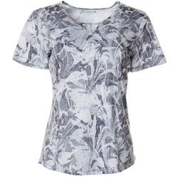 Reel Legends Womens Textured Marble Burnout Keyhole T-Shirt