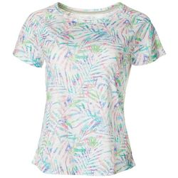 Reel Legends Womens Colorful Palms Raglan Sleeve Burnout Top