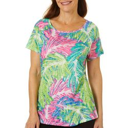 Reel Legends Womens Sketched Palms Raglan Sleeve Burnout Top