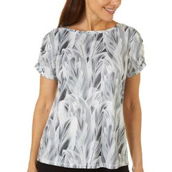 Reel Legends Womens Reel-Tec Layered Leaves Print Top