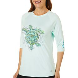 Reel Legends Womens Keep It Cool Sketched Turtle Top