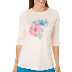 Reel Legends Womens Keep It Cool Hibiscus Raglan Top