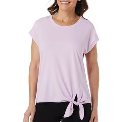 Womens Elite Comfort Solid Tie Front Top