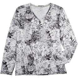 Womans Printed V Neck Long Sleeve Top