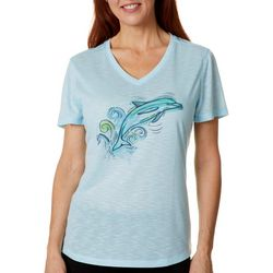 Reel Legends Womens Sketchy Dolphin Graphic T-Shirt
