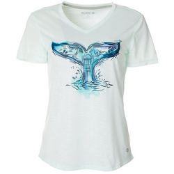 Reel Legends Womens Colorful Whale Tail Graphic T-Shirt