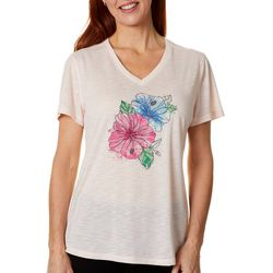 Reel Legends Womens Colorful Hibiscus Graphic T-Shirt