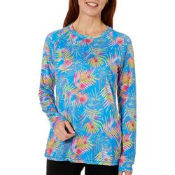 Reel Legends Womens Keep It Cool Watercolor Palms Top