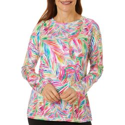 Reel Legends Womens Keep It Cool Jazzy Palms Long Sleeve Top