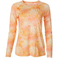 Reel Legends Womens Keep It Cool Peach Palms Print Top