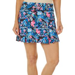Reel Legends Womens Keep It Cool Colorful Palm Print Skort