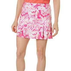 Reel Legends Womens Keep It Cool Tropical Palm Print Skort