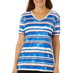 Reel Legends Womens Reel-Tec Stars On Stripes V-Neck Top