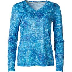 Reel Legends Womens Reel-Tec Color Tracks Long Sleeve Top