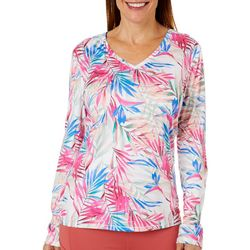 Reel Legends Womens Reel-Tec Blazing Bloom V-Neck Top