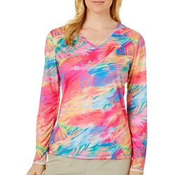 Reel Legends Womens Reel-Tec Colorful Palms Long Sleeve Top