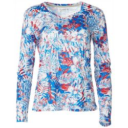 Reel Legends Womens Reel-Tec Patriotic Palms Long Sleeve Top