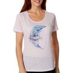 Reel Legends Womens Colorful Winsome Seagull Graphic T-Shirt