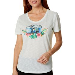 Reel Legends Womens Colorful Glass Camera T-Shirt