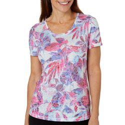 Reel Legends Womens Painterly Leaves Burnout T-Shirt