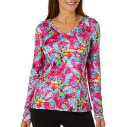Reel Legends Womens Reel-Tec Tropical Flower Long Sleeve Top