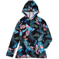 Womens Tropical Hooded Long Sleeve Top