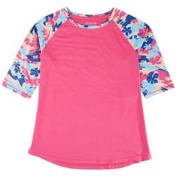 Womens Solid Mid Section Pattern Sleeve Top